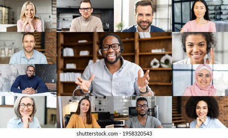 Confident African male business coach holding online webinar, a group of diverse people involved. Online video meeting of multinational work team, video call screen with a many people profiles on it