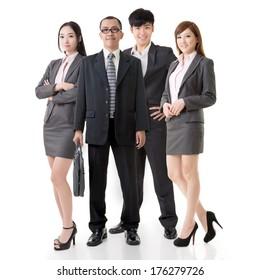 Confident Asian business team, full length on white background.