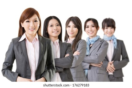 Confident Asian business team, select focus on first woman.