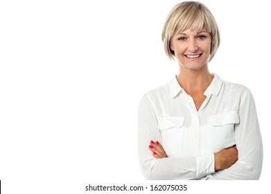 Confident beautiful isolated businesswoman