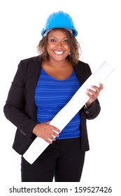 Confident Black African American woman architect smiling, isolated on white background