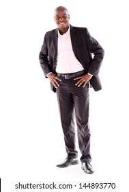 Confident black business man - isolated over a white background