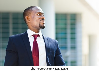 Confident black businessman outdoor