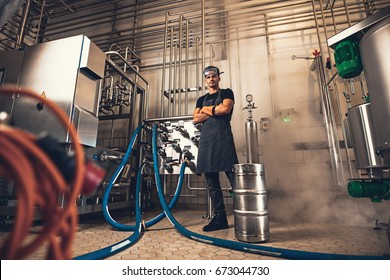Confident brewer in apron with arms crossed looking at camera while standing in front of industrial equipments at brewery factory.