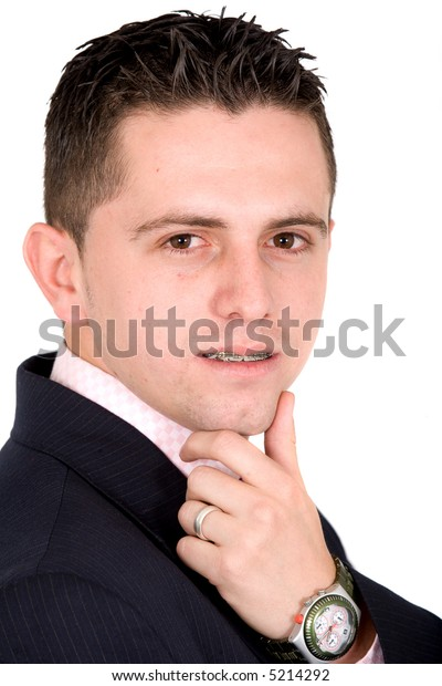 confident business man portrait - isolated over a white background