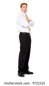 confident business man standing up - isolated over a white background