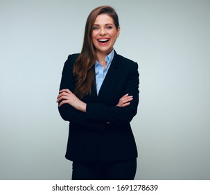 Confident business woman in black suit. isolated female portrait.