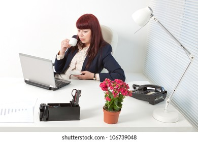 Confident business woman in a comfortable modern office