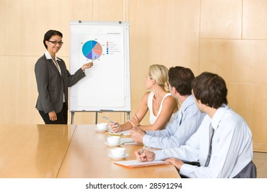 confident business woman giving presentation to colleauges