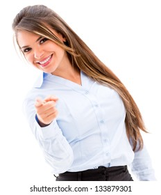 Confident business woman pointing to the camera - isolated over white