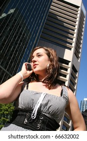 Confident Business Woman Taking Important Client Mobile Phone Call