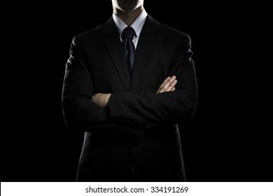 Confident Businessman Arm Cross Pose. Business Concept
