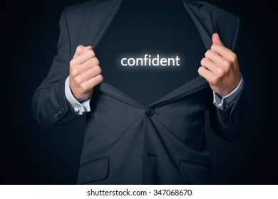 Confident businessman concept. Boastful manager with opened suit and text confident instead body.