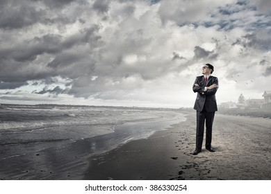 Confident businessman. Concept image