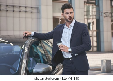 Confident businessman. Handsome young businessman in suit standing near car