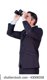 Confident businessman looking through binoculars isolated on a white background
