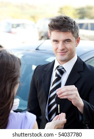 Confident businessman meeting his colleague in the street
