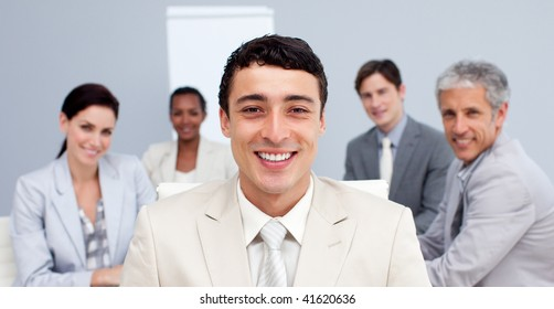 Confident businessman in a meeting smiling in a meeting