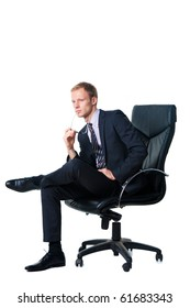 confident businessman sitting in black office chair over white