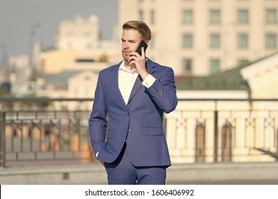 confident businessman speaking on phone. making business on move. business man with mobile phone. wireless connection. business online. Billionaire. handsome man in fashion suit. modern life.