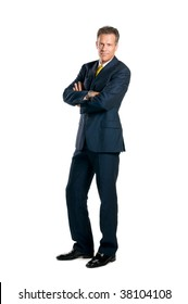 Confident businessman standing full length isolated on white background
