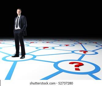 confident businessman standing on 3d virtual connection web