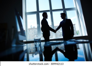 Confident businessmen handshaking after negotiations