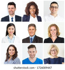 Confident businesspeople smiling and looking at camera. Isolated over white background. Diversity and business team concept. Composition of portraits of different young people.