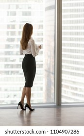 Confident businesswoman boss standing at modern office or hotel window enjoying big city view, woman leader business owner thinking of future success, planning new opportunities, rear vertical view