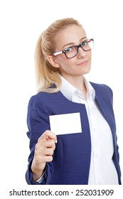 Confident Businesswoman Holding Blank Credit Card on White