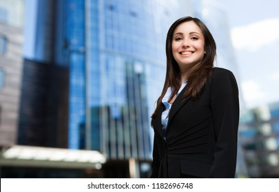 Confident businesswoman portrait outdoor