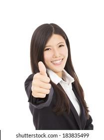 Confident businesswoman  thumb up