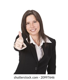 Confident businesswoman with thumb up isolated against the white background.Selective focus on the face.