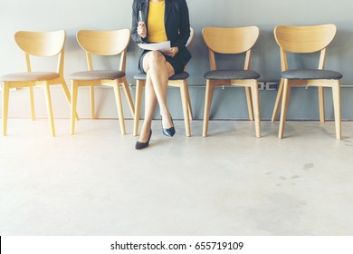 Confident Candidate waiting for job interview and recruitment in human resource department . Job interview Concept