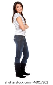 confident casual girl isolated over a white background