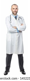 confident caucasian doctor standing and crossed arms isolated on white background
