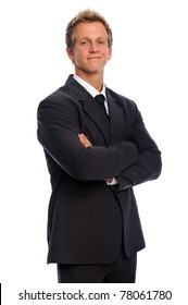 Confident caucasian man in formal business suit