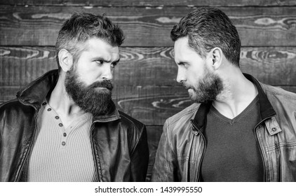 Confident competitors strict glance. Masculinity concept. Masculinity attributes. Brutality confidence and masculinity interconnection. True man temper. Men brutal bearded hipster. Exude masculinity.