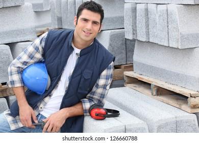 Confident construction worker