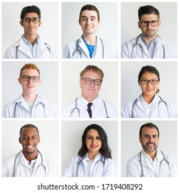 Confident diverse doctors isolated portrait set. Young men and women of different races and ages in medical white coats shot collage. Medicine concept