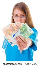 Confident doctor showing 250 euros in blue coat.