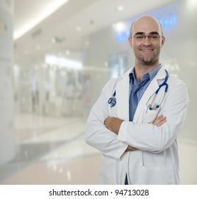 Confident Doctor standing in hospital hallway
