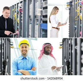 Confident engineers working in server room global communications data center