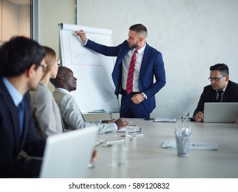 Confident expert showing graph with his results of financial analysis