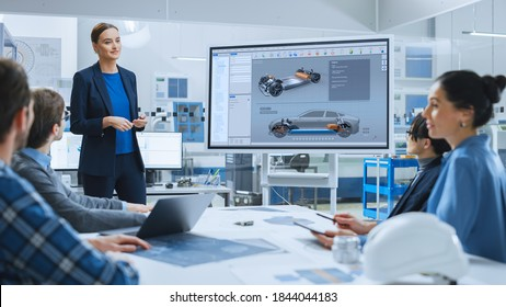 Confident Female Automotive Engineer Reports to Diverse Team of Specialists, Managers, Businesspeople and Investors Sitting at the Conference Table, She Shows TV with 3D Prototype of Electric Car - Shutterstock ID 1844044183