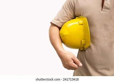 Confident foreman on white background