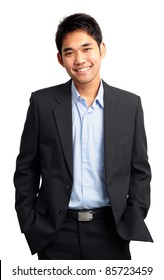 confident and friendly business man portrait - isolated over a white background