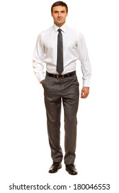 Confident, friendly businessman looking to the camera. Man in shirt with tie. Isolated on white background