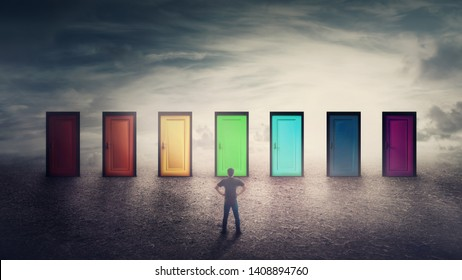 Confident guy in front of many doors different colored has to choose one. Difficult decision, important choice concept, failure or success. Ways to unknown future, career development opportunity.