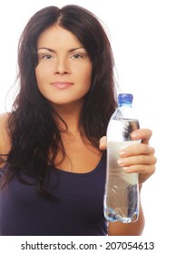 confident gym woman with water bottle smiling isolated on white